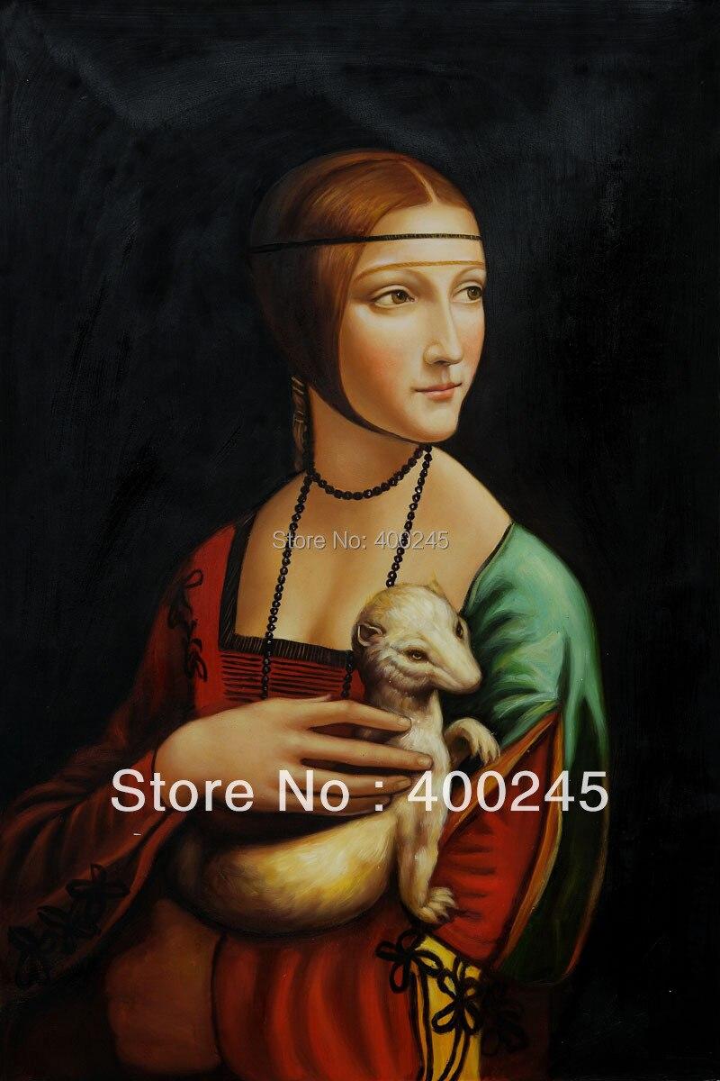 Art Cadeau De Haute Qualité peinture à l'huile Portrait célèbre Leonardo Da Vinci peinture Dame Avec une Hermine peint À la Main livraison gratuite