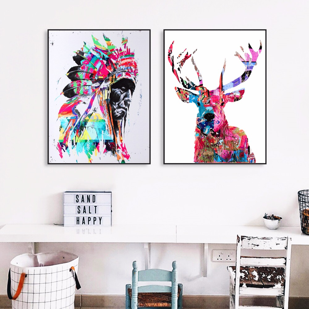 Native Indian And Deer Artwork Canvas Art Print Painting Poster Wall ...
