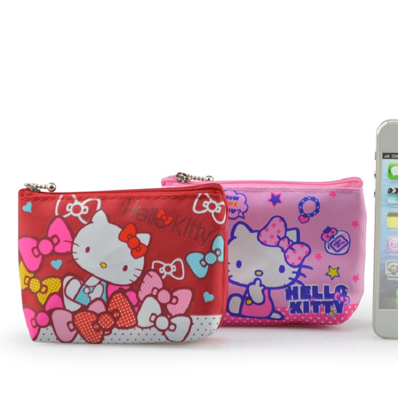 Hello Kitty Canvas HAND Coin Purse & Wallet Pouch Case BAG ; Pocket Key Chain Women Makeup Holder BAG Handbag hello kitty canvas hand coin purse