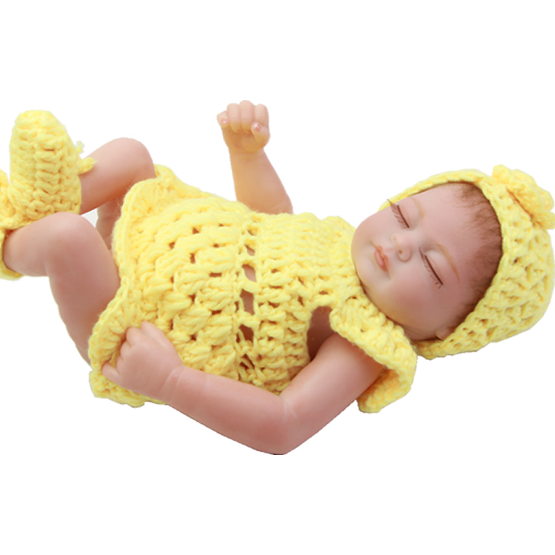 Sleeping 11 Inch Reborn Baby Dolls Full Silicone Soft Girl Body Newborn Babies With Knitted Clothes Kids Birthday New Year Gift thicken soft knitted sleeping bag kids wrap mermaid blanket