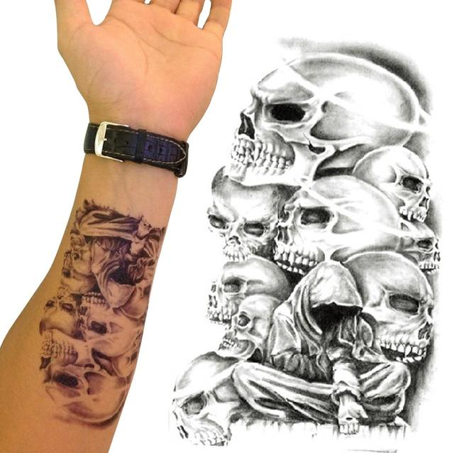 Tatuajes Temporales Grandes Muerte Cráneo Brazo Falsa Transferencia