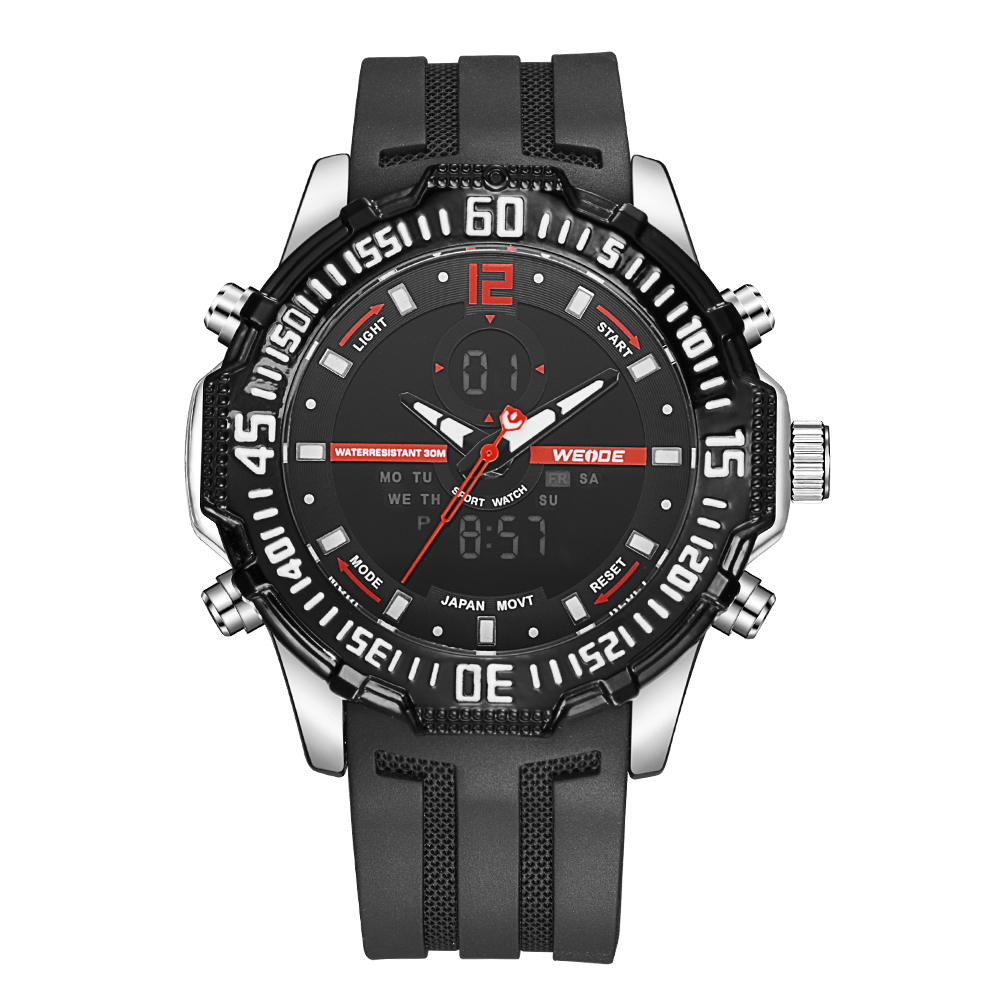 WEIDE Mens Casual Sport Watch Alarm Date Digital Stopwatch Back Light Rubber Strap Analog Quartz LCD Day Wrist Watches weide casual genuin brand watch men sport back light quartz digital move t silicone waterproof wristwatch multiple time zone