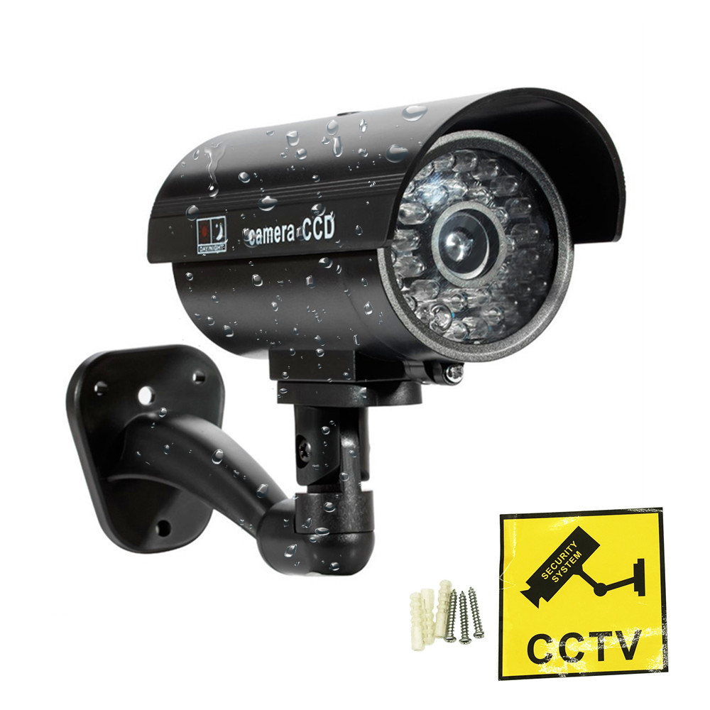 ZILNK Faux Caméra Factice de Sécurité Étanche CCTV Surveillance Caméra Avec Clignotant Led Rouge Lumière En Plein Air Intérieur