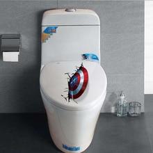 Bathroom Decor 3D Stickers Captain America Shield