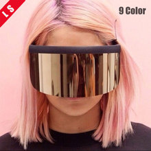 Style 2018 Plus Oversize Shield Visor Mask Sunglasses Men Women Peice Windproof Glasses Flat Top Hood Eyeglasses Driver Goggles