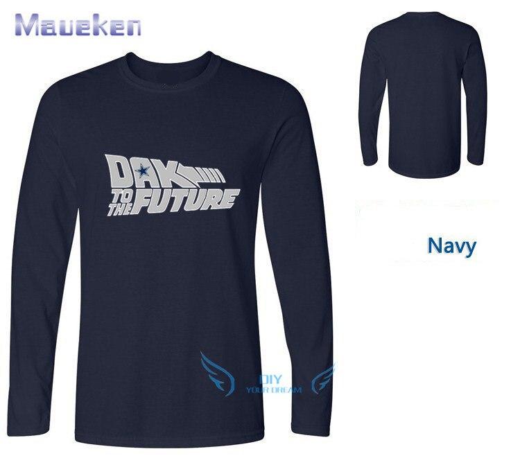Newest 2018 Dak Prescott Back to the Future long sleeve T-shirt 100% cotton ls o-neck T shirt 1019-1