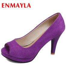 ENMAYER Fashion Women New Sweet  Gladiator Thick High Heel Shoes Faux Suede Platform Pumps More Colors bigsize34-43 women pumps