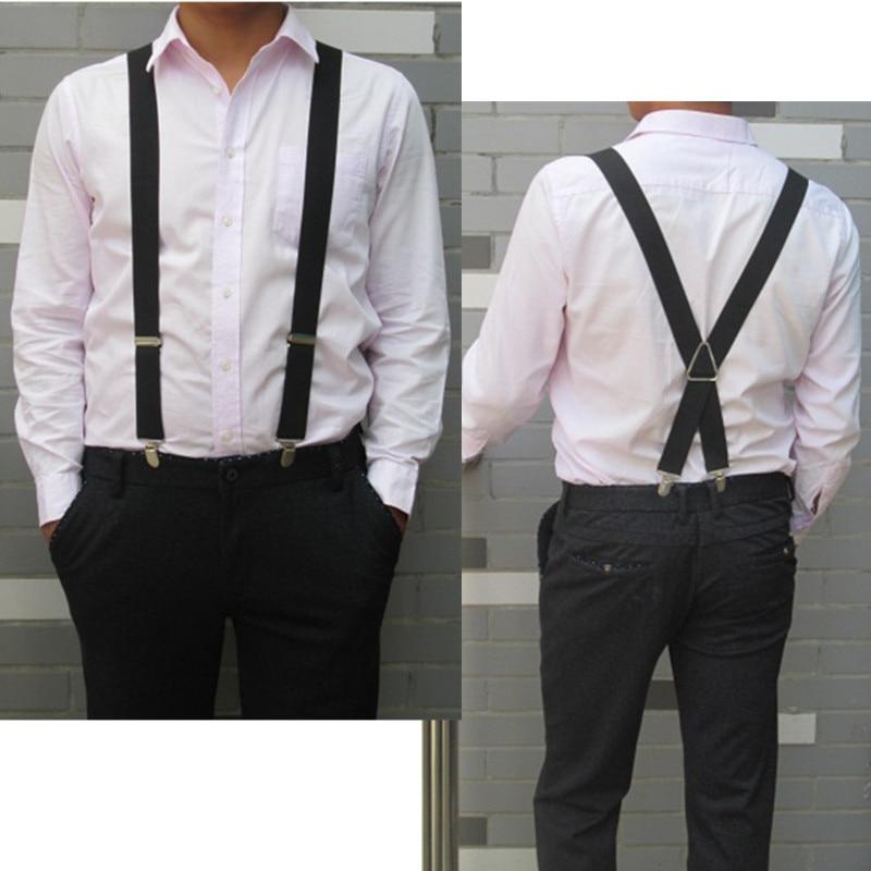 Mens Suspenders Adult Womens Suspenders Clip-on X-Back Elastic Braces Black100cm