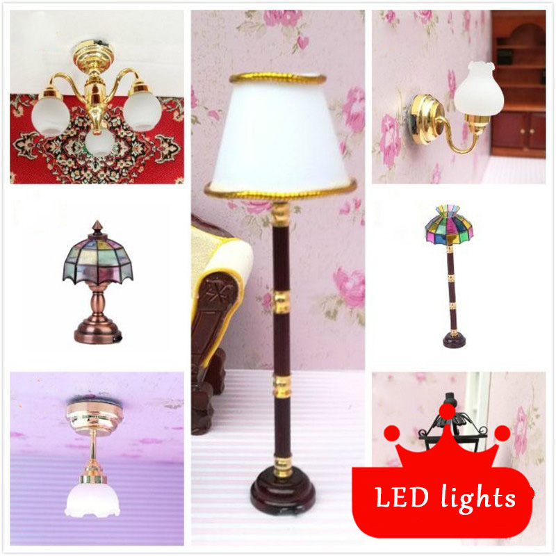 1:12 Dollhouse Furniture Toy Miniature Led Light Lamp Dolls Simulation Mini Lighting Model Children Pretend Play Toys For Girls
