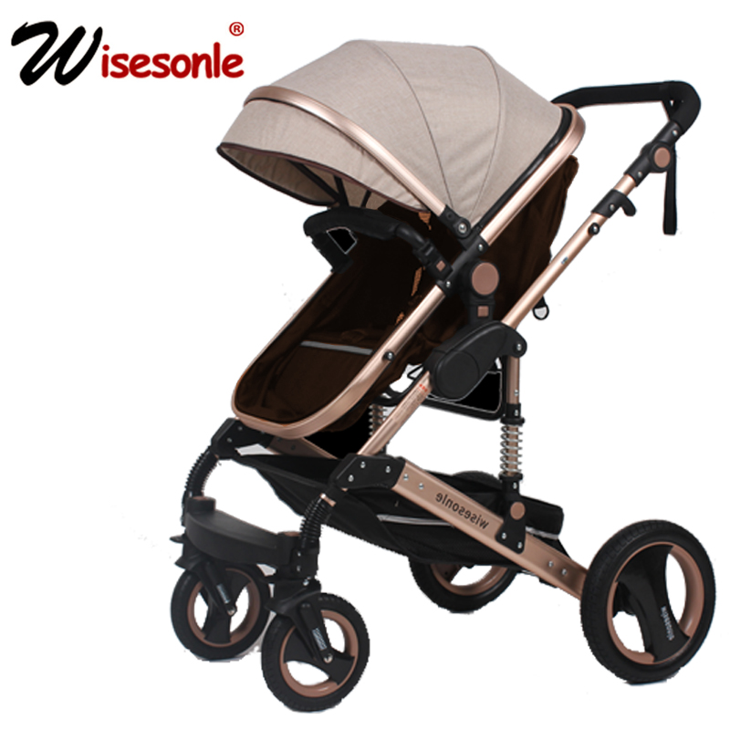 High View Luxury Baby Stroller 2 in 1 High-Landscape Pram Portable Folding baby Carriage Cheaper Baby Stroller cart fashion superweight baby stroller portable high landscape soft baby pram cart aluminum shockproof 3 in 1 folding strollers
