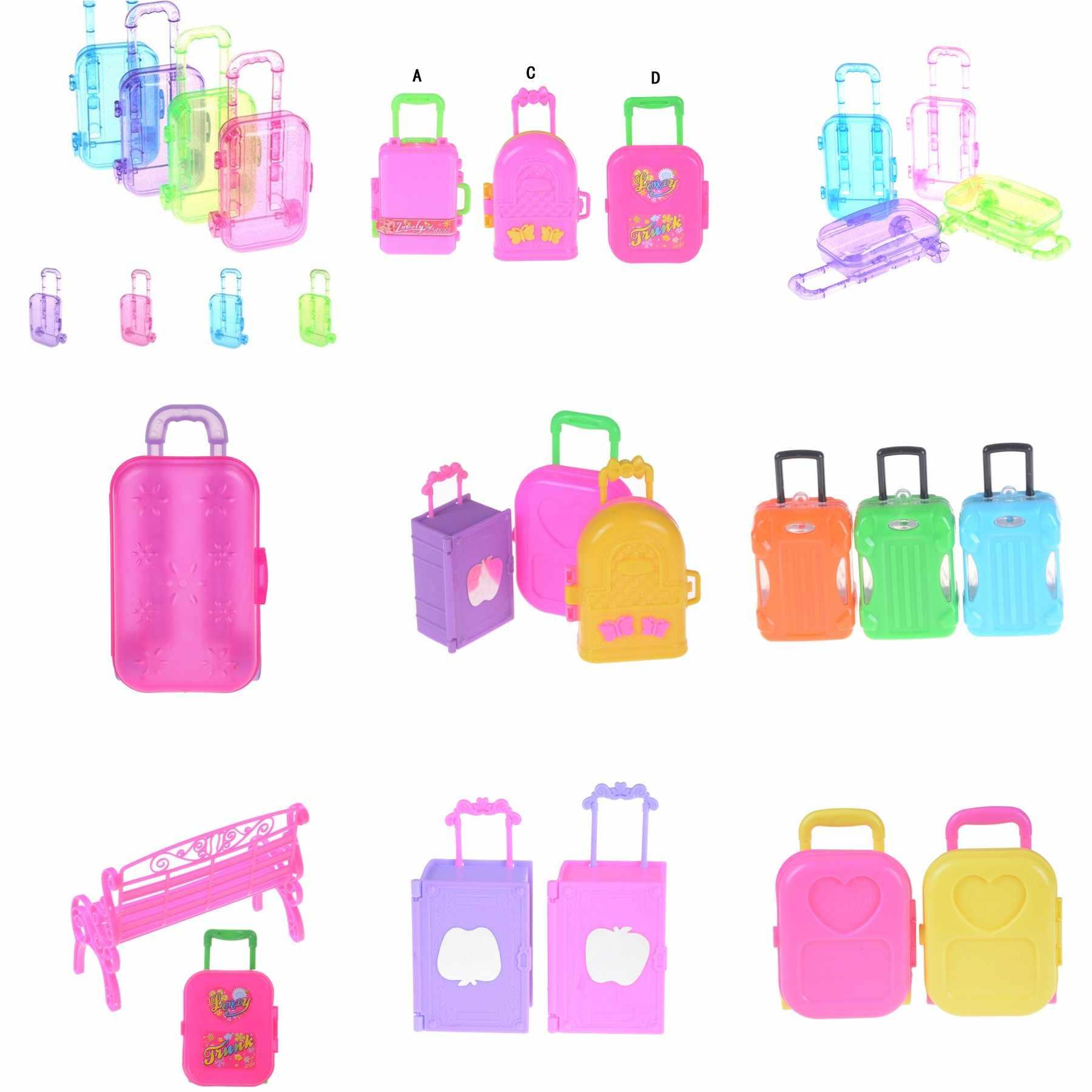Moda Acessórios Da Boneca Móveis de Plástico Crianças Brinquedos Brincar de Casinha 3D Bagagem Mala de Viagem de Trem Para Boneca Melhor Presente