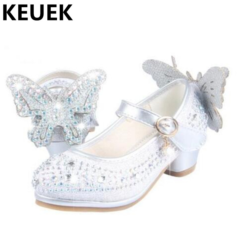 Spring/Autumn Low-heeled Shoes Girls Rhinestone Princess Leather Shoes Children Wedding Party Dress Baby Dance Shoes Kids 03 kids sneaker girls dance shoes pu baby princess flat flowers single shoes spring summer autumn children student leather shoes