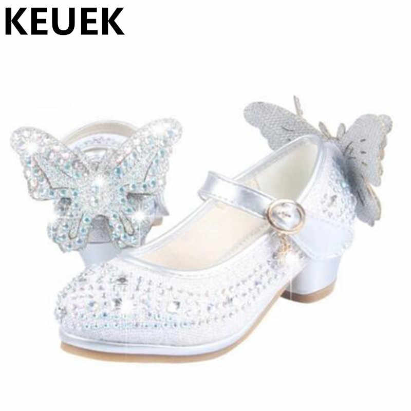 1689a0c95bfd1 Spring Autumn Low-heeled Shoes Girls Rhinestone Princess Leather Shoes  Children Wedding Party Dress