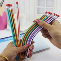 5pcs korea cute stationery colorful magic bendy flexible soft pencil with eraser student school office use.jpg 200x200