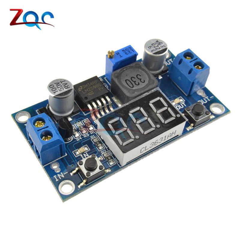 DC-DC باك تنحى وحدة LM2596 تيار مستمر/تيار مستمر 4.0 ~ 40 فولت إلى 1.25-37 فولت قابل للتعديل الجهد المنظم مع LED الفولتميتر