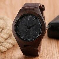 Black Face Sport Unique Simple Wrist Watch Trendy Men Nature Wood Women Genuine Leather Band Strap