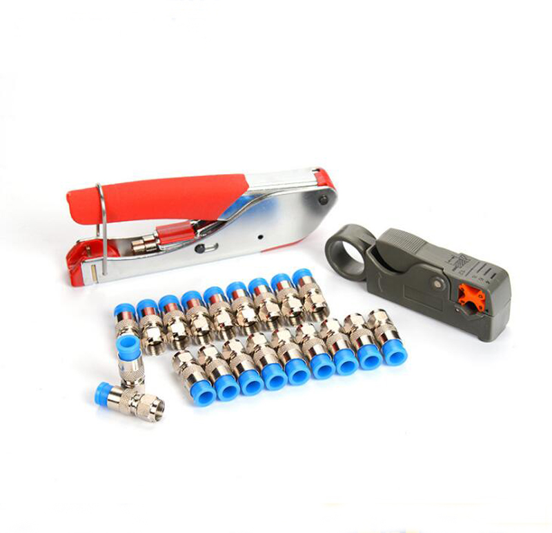 """""""1set"""" koaksialinio kabelio derinio įrankis F galvutės gniuždymo įrankis RG59 / RG6 Kabelinės televizijos laido spaustukas"""