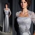 Longo elegante Formal mãe da noiva Pant ternos de prata rendas mãe dos vestidos de noiva com mangas noivo casamentos 2015
