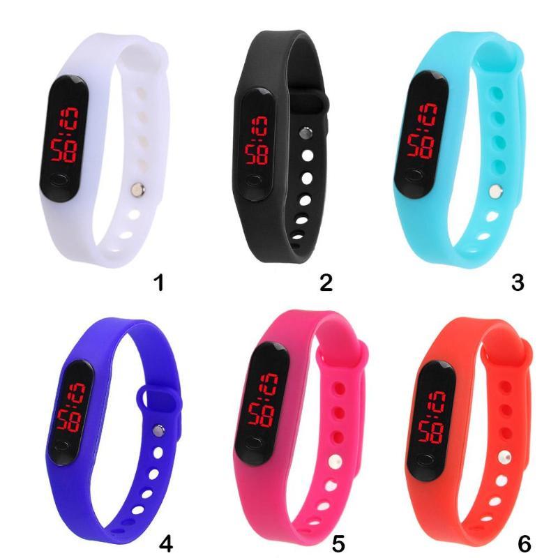 Fashion Unisex Women Man Boy Girl LED Display Sports Running Watch Casual Plastic Bracelet Electronic Digital Wrist Watch