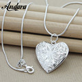 ANDARA High Quality Fashion 925 Silver Necklace&Pendants Silver Photo Frame Charm Heart Necklace For Women Girl Gift N310