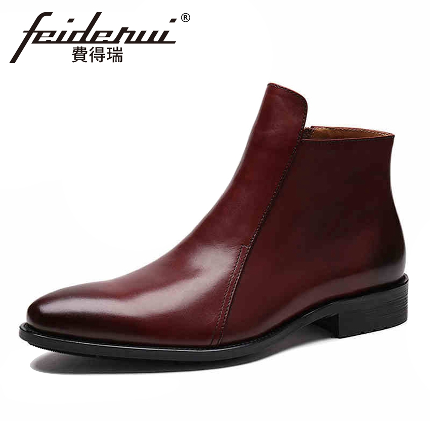 Luxury Genuine Leather Men's Comfortable Martin Ankle Boots Round Toe Zipper Handmade Cowboy Riding Man High-Top Shoes YMX226 high quality genuine cow leather men s high top chelsea ankle boots round toe handmade cowboy riding man platform shoes ymx15