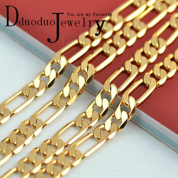 Real Men's 24K Gold-Color Necklace Chain fashion wedding Jewelry 5mm*50cm