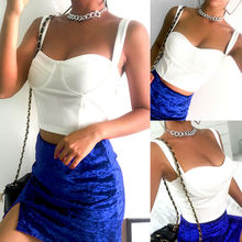 Women Sexy Low Chest Slim Casual Bralet Tank Top Ladies Fashion Strap Solid Crop Cami Tops White grey fashion velvet cami