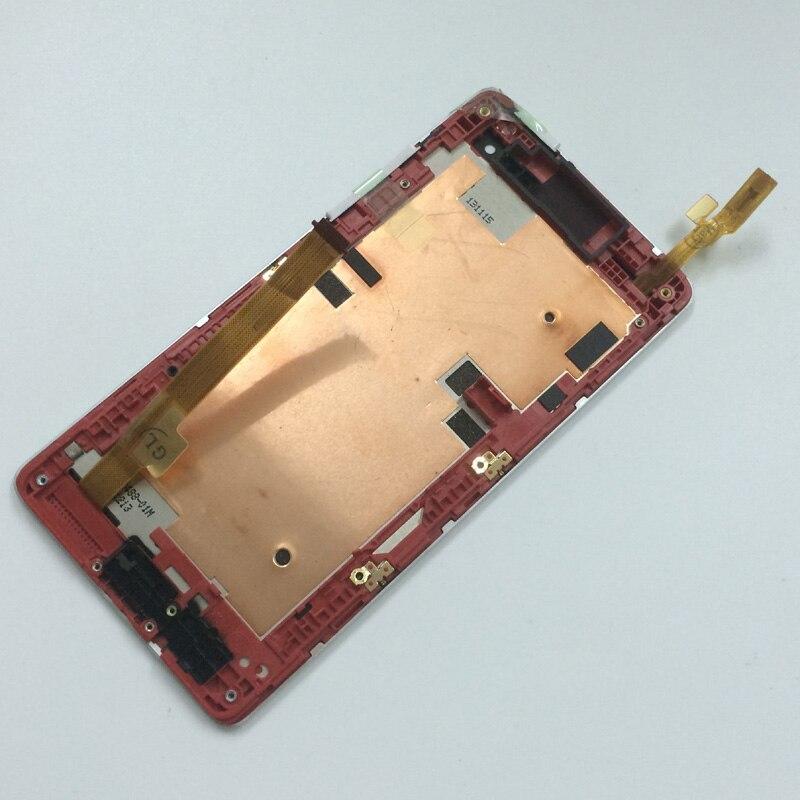 imágenes para Sensor de la Lente de Cristal Digitalizador de Pantalla táctil + Pantalla LCD Monitor Módulo del Panel de Montaje con Marco de Plata Rojo Para HTC Desire 600