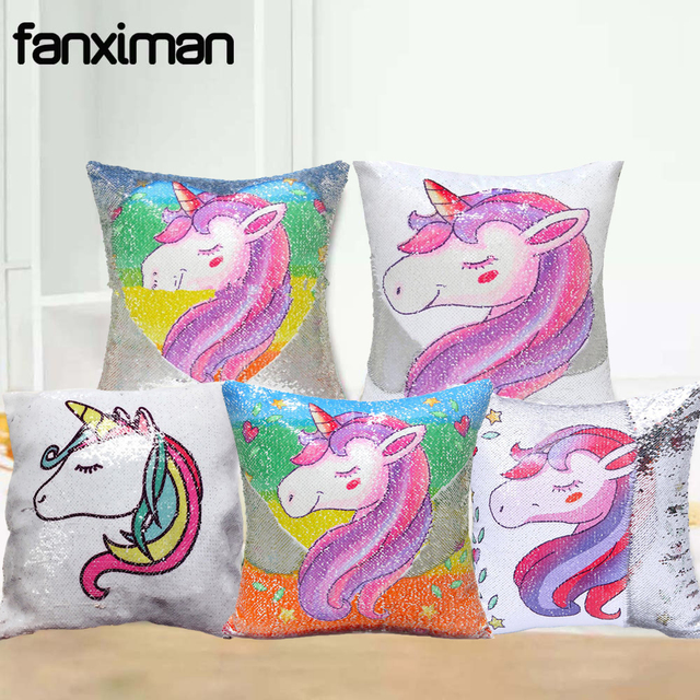Fanximan Magic Sequin Pillow Unicorn Cushion Cover 40 40 Decorative