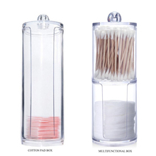 2 Types Acrylic Makeup cotton Pad and Cotton Swab Storage Bo