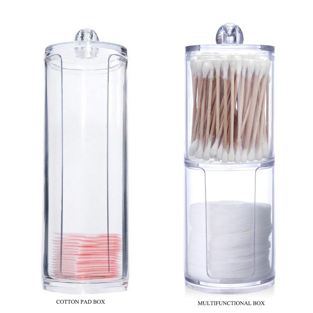 2018 New Cotton Pads Cotton Swab Clear Acrylic Storage Holder Box Transparent Cosmetic Makeup Organizer Case High Quality Hot acrylic makeup cotton pad cosmetic organizer case storage box