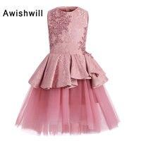 Новое поступление розовый платья для девочек с цветочным узором 2019 без рукавов атлас с кружевом с бусинами Тюль Lline короткое платье причаст