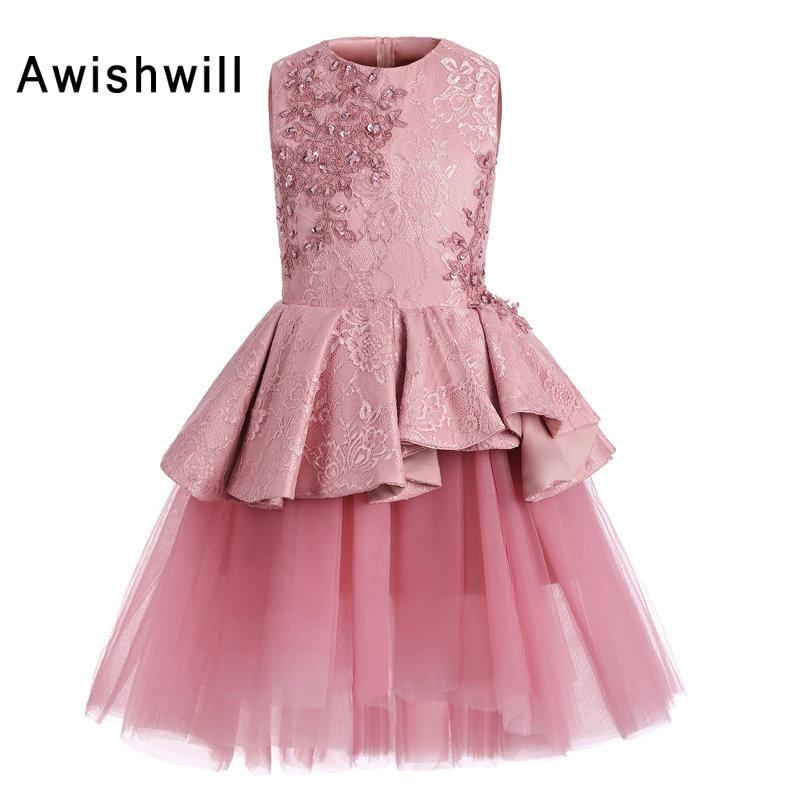219feec615f New Arrival Pink Flower Girl Dresses 2019 Sleeveless Beaded Lace Satin  Tulle A Lline Short Communion