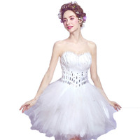 AnXin SH White Feathers Diamond Bra Will Show Annual Dinner Short Paragraph Bride Married Toast Wedding