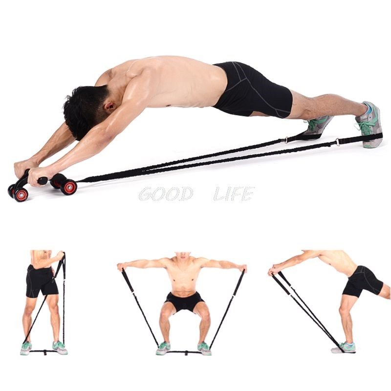 Fee Shipping Abdominal Muscle Wheel Auxiliary Pull Rope Gym Fitness Ab Roller Resistance Bands Fitness Equipment  Dropshipping