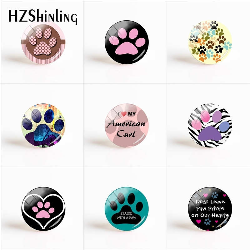 Lovely Dog Paw Glass Dome Prints Pendant Accessory Love Dog Glass Cabochon Hand Craft Ornaments Men Women Jewelry