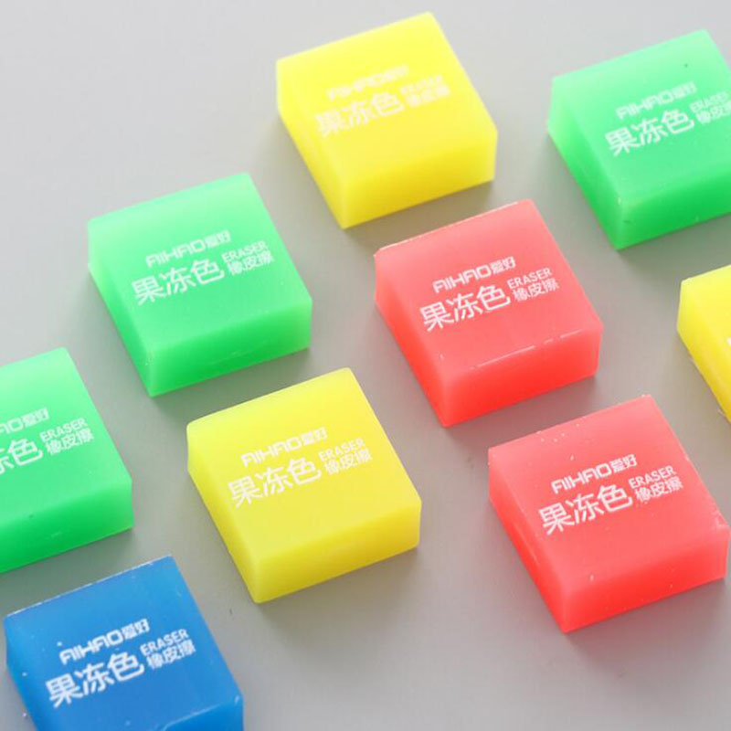 Rubber Candy Gradient Soft Durable Flexible Cube Cute Colored Pencil Eraser School Children Cute Small Fresh Jelly Color Eraser