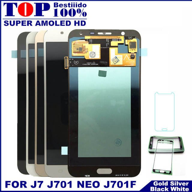 AMOLED شاشات Lcd كامل محول الأرقام لسامسونج غالاكسي J7 neo J701 J701F J701M J701MT شاشة إل سي دي باللمس إحلال تركيبات الشاشة
