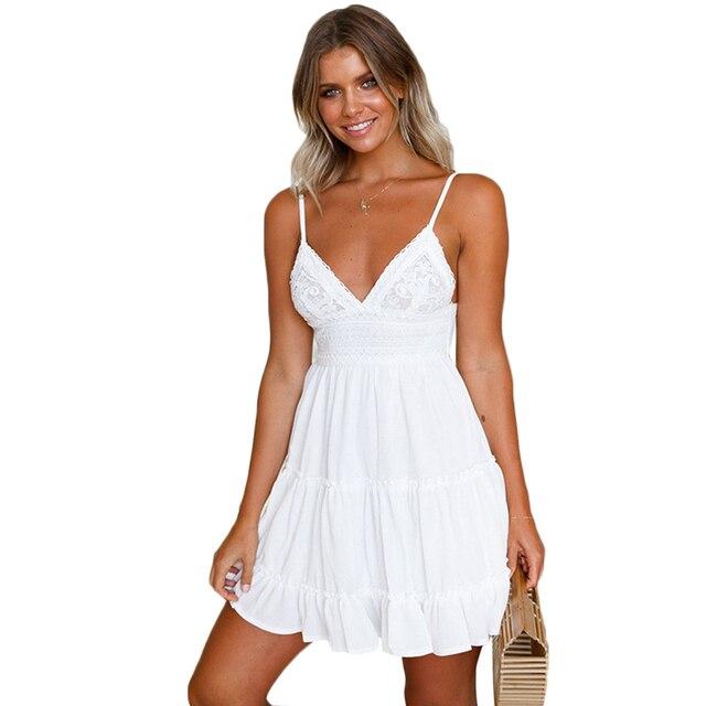 c121c3e94e 2018 NOVAS Mulheres Da Moda Verão Vestido Curto de Renda Elegante Boho  Praia Vestidos Branco Vestido