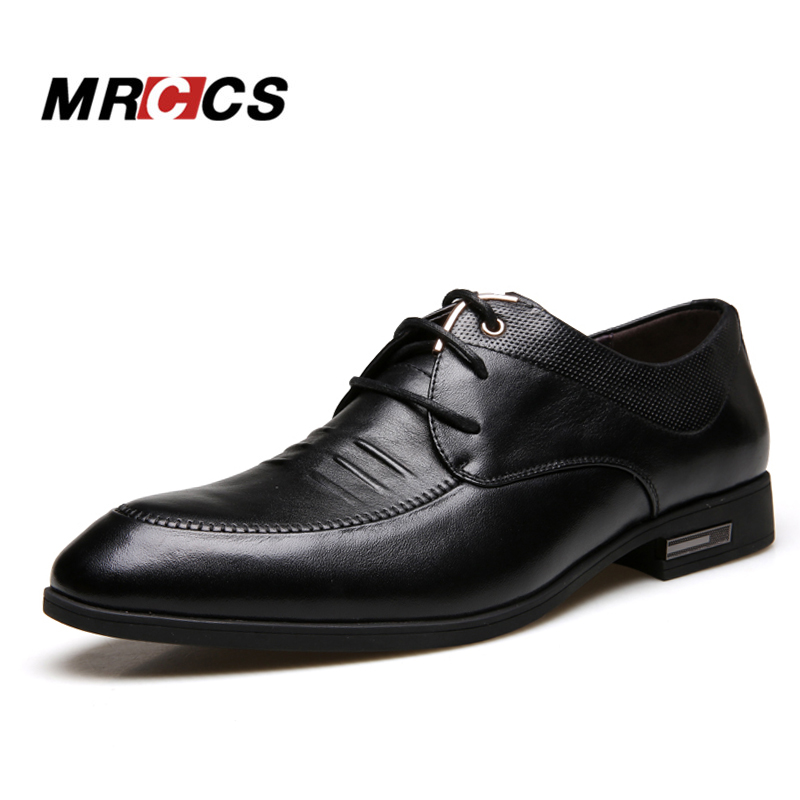 Bright Genuine Leather Men Shoes Oxfords Pointed Toe Lace Up Mens Dress Shoes High Grade Office Work Shoes Black Brown Wedding Shoes Elegant In Smell Shoes
