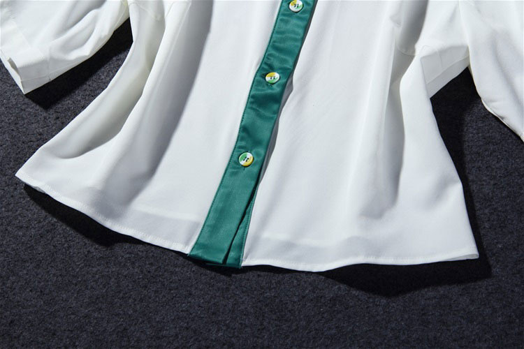 Flower Print Green Skirt White Blouse Suits for Women (8)