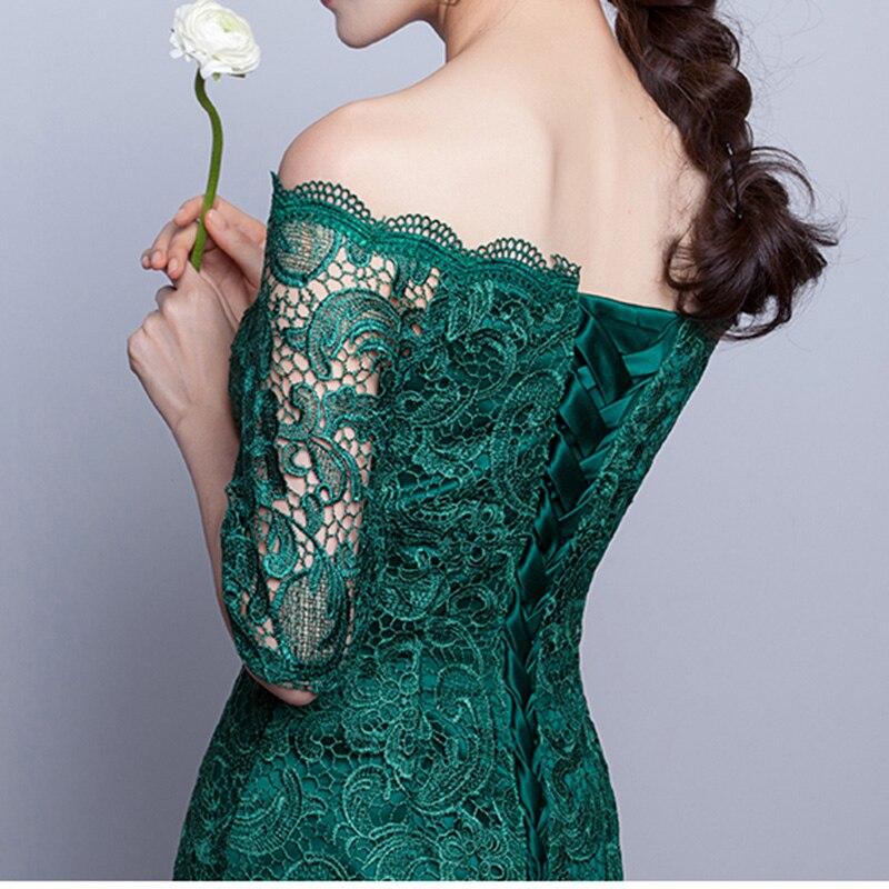 DongCMY Nieuwe 2019 korte mode elegante medium mouwen kanten groene - Jurken voor bijzondere gelegenheden - Foto 5