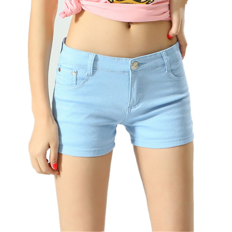 6131c19a2bf Summer Fashion Shorts Women Clothing Elegant Elastic Waist Denim Shorts  Female Slim Solid Color Sexy Brand Plus Size Short Jeans-in Shorts from  Women's ...