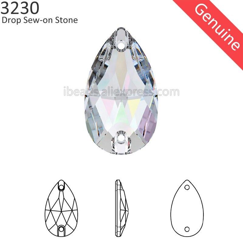 Cristal 100% Original de Swarovski, pierre à coudre en forme de poire,  strass autrichien bricolage, 1 pièce