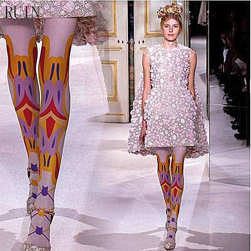 Ženske Hlače RUIN Risanke iz mačjih čipk Natisnjene hlačne nogavice 40D