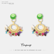 Yhpup Trendy Za Design Colorful Natural Stone Handmade Dangle Drop Earrings Ethnic Bohemia Statement for Women Summer Jewelry(China)