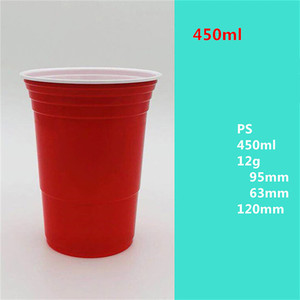 Image 5 - 50Pcs/Set 450ml Red Disposable Plastic Cup Party Cup Bar Restaurant Supplies Household Items for Home Supplies High Quality