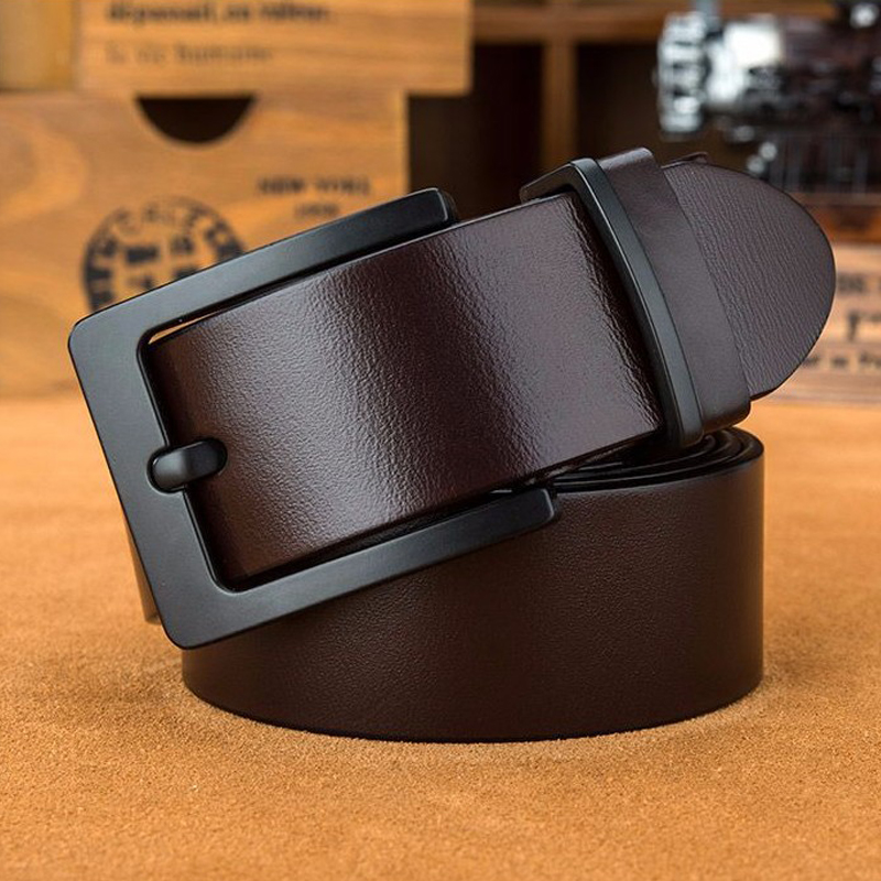 100%genuine leather belt for men gift brand designer mens high quality Cowskin Personality black buckle Vintage belt for jeans