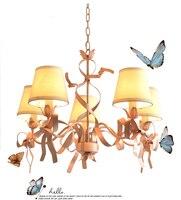 프랑스어 공주 핑크 리본 아트 샹들리에 서스펜션 철 활 샹들리에 램프 유럽 침실 어린이 키즈 핑크 lamparas 주도
