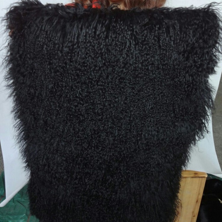 Hight quanlity black white brown genuine sheep lamb long Curly fur 50CM 105CM piece